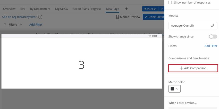 Image illustrant le widget Ajouter une comparaison sur un widget de graphique numérique