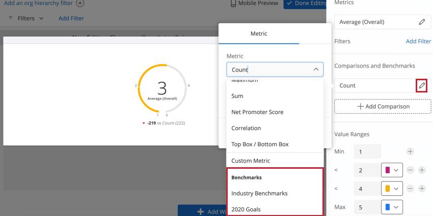 Auswahl einer Benchmark zum Hinzufügen zum Widget