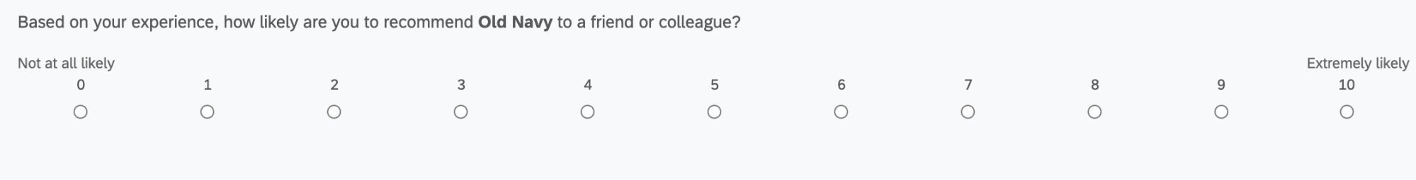 An NPS question, rating liklihood to recommend from 0 to 10