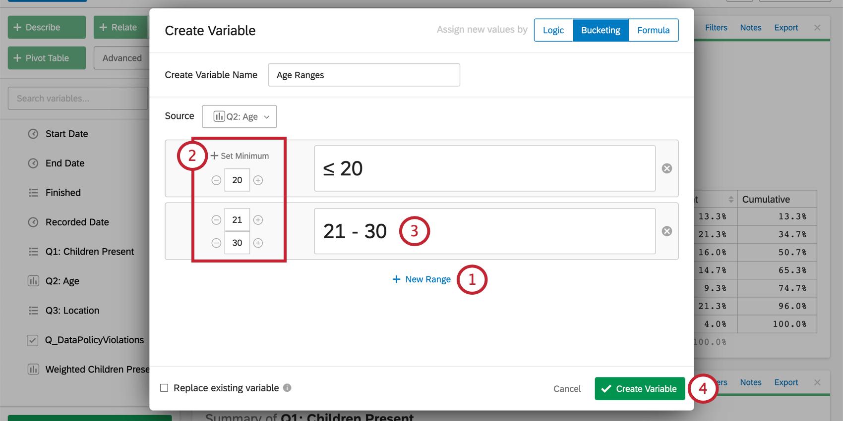 Create buckets using range of numbers