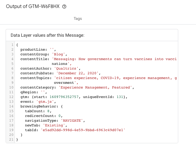 Google Tag Manager container with the container IDs available