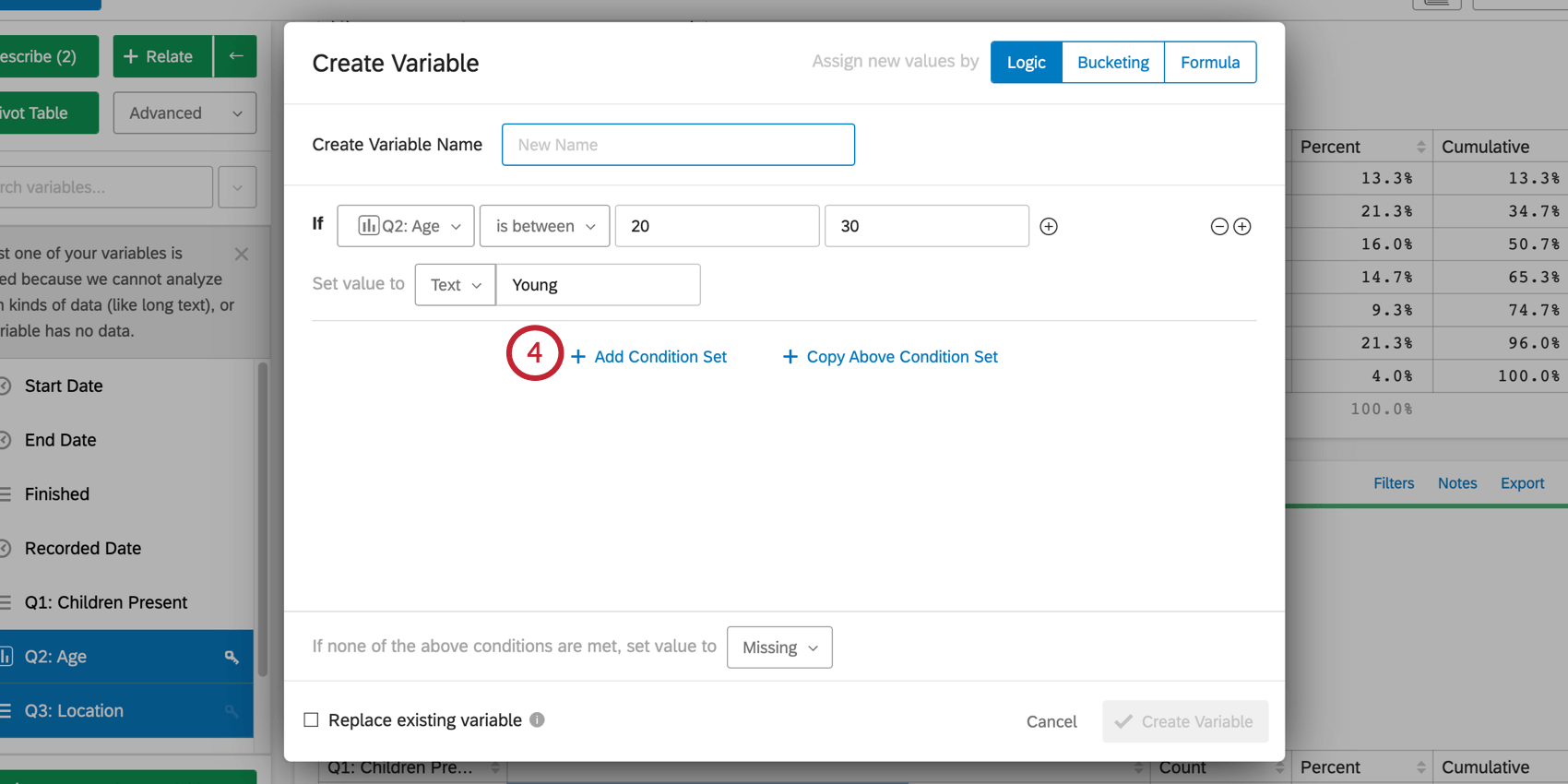 Click Add Condition Set