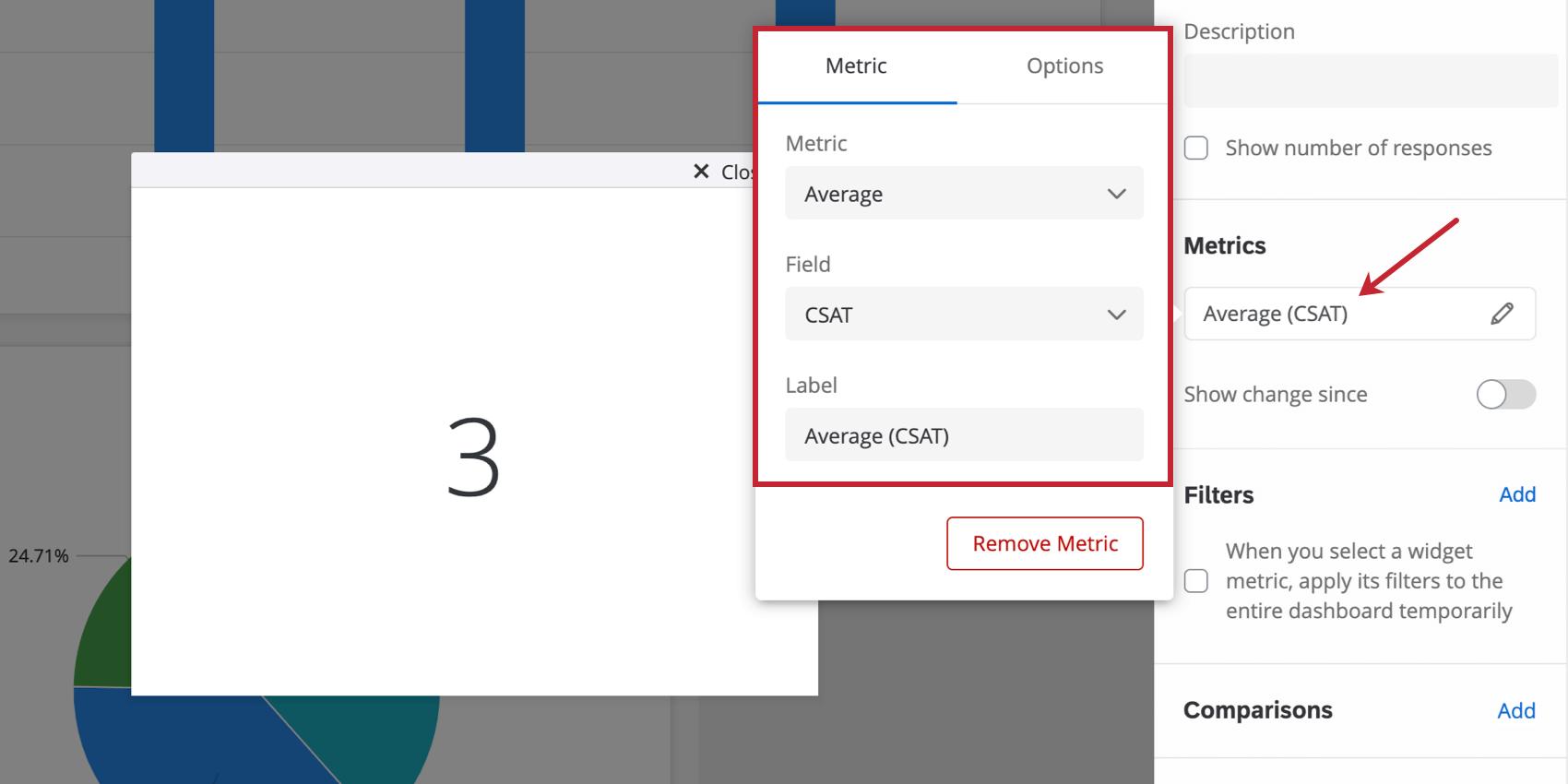 Graphique numérique avec les paramètres de mesure ouverts dans le volet d'édition du widget