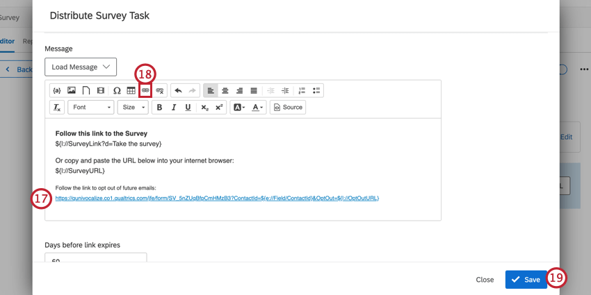 adding the custom opt out link to the email invitation, and hyperlinking it