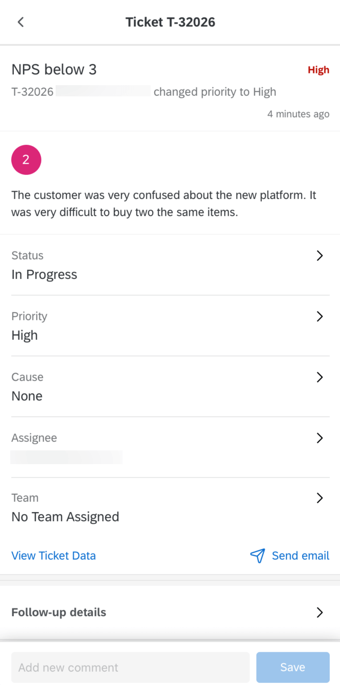 Ticket opened in the XM App showing the details and ability to comment