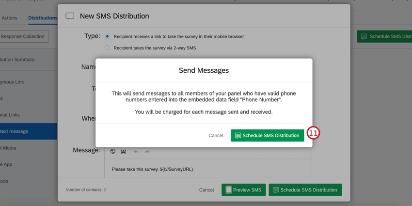Schedule SMS distribution and send messages