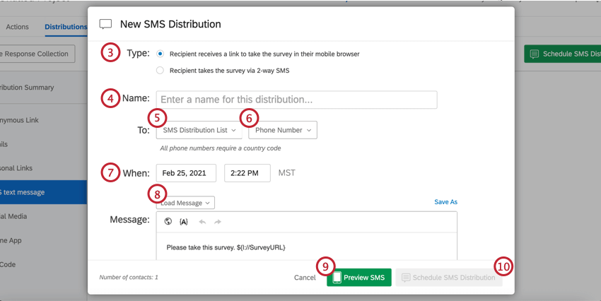 New SMS Distribution with a message