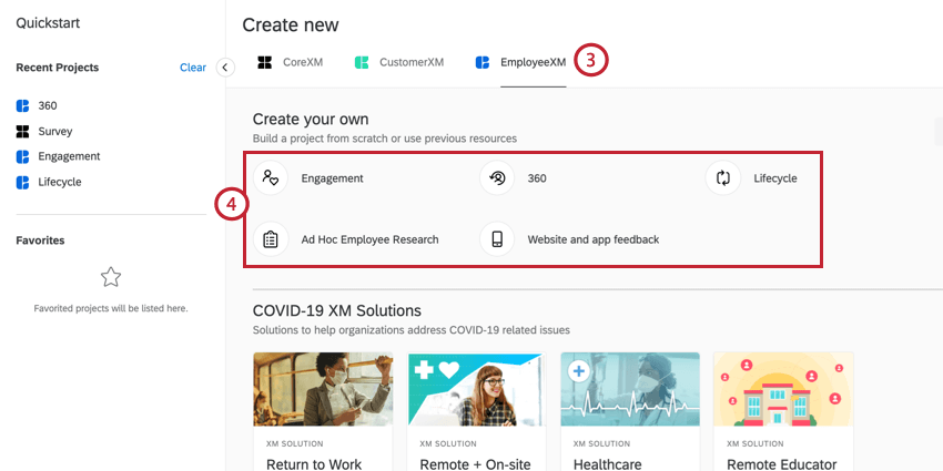 the create project screen. employee xm is selected