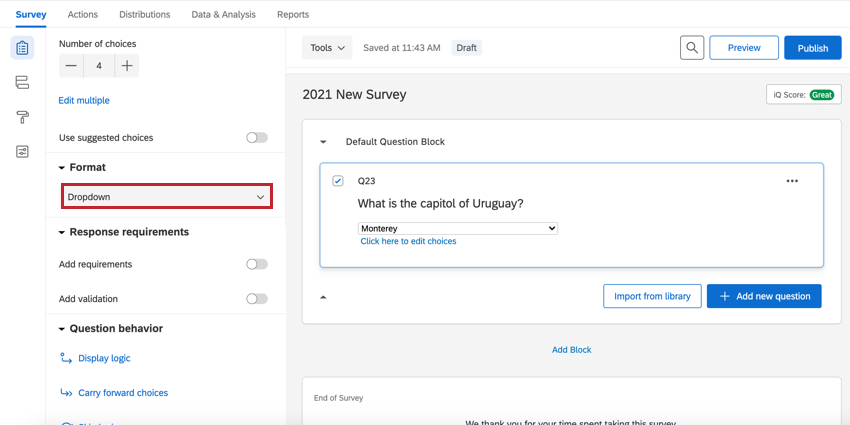 a multiple choice question in dropdown format