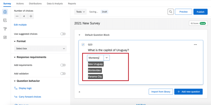 a select box multiple choice question in edit mode