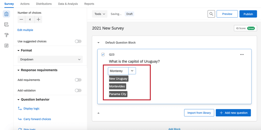 a dropdown multiple choice question in edit mode