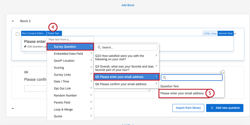 selecting the piped text for the first email question