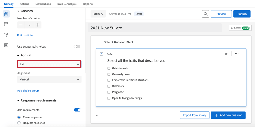 the list option enabled on a multiple choice question