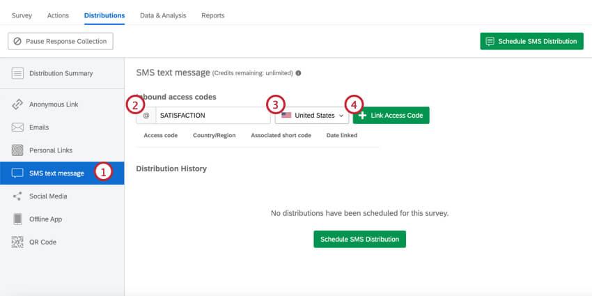 Link inbound access codes