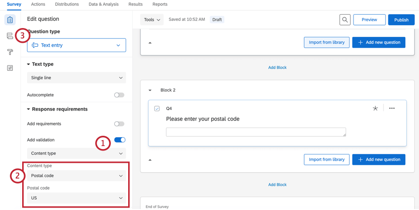adding us postal code validation to a question
