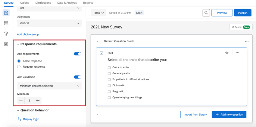 the response requirements section of the survey builder