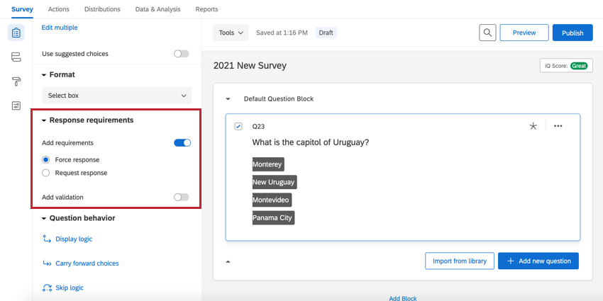 the validation section on a single response question