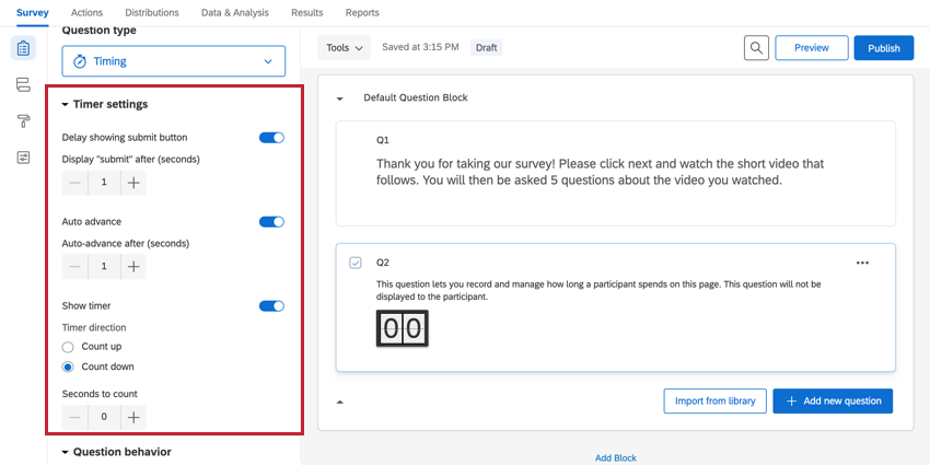 the timer settings section for a timing question