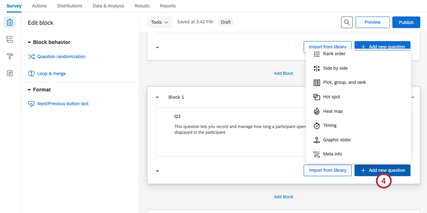 clicking add new question after creating our new block with a timing question
