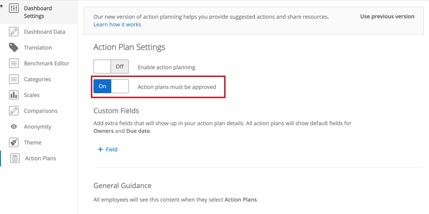 the allow action plans to be approved toggle in action plan settings