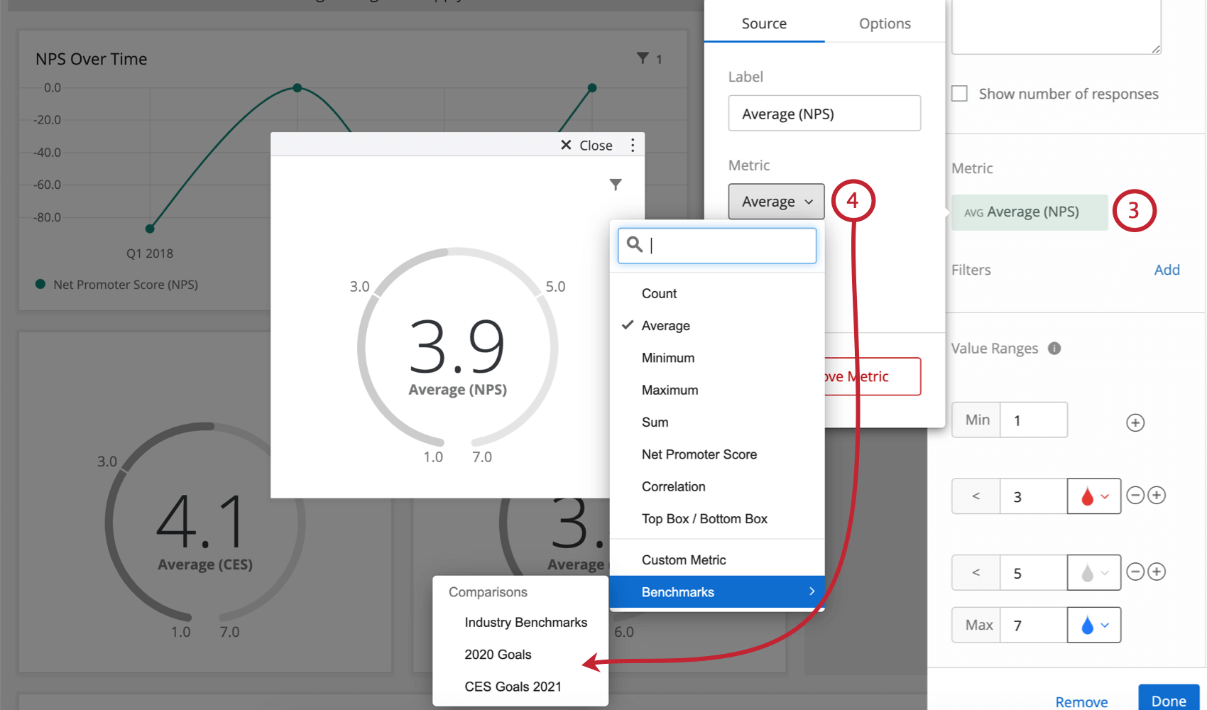 Metric expanded from widget editing pane on right; window opens with another metric field, this one a dropdown, with benchmarks listed at the bottom