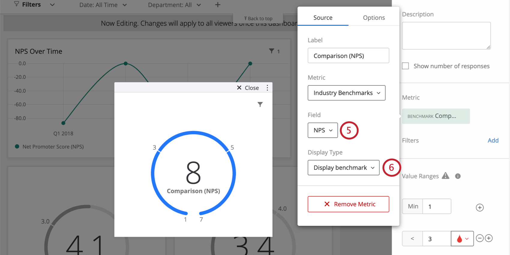 Field dropdown is next after metric, then display type