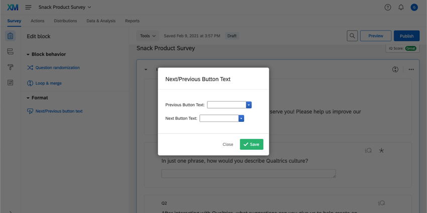 Next/Previous Button Text window with fields to enter the Previous Button Text and the Next Button Text