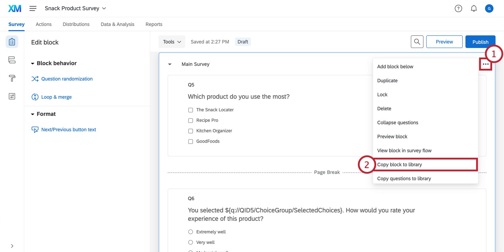 Copy block to library option in the block options drop down menu