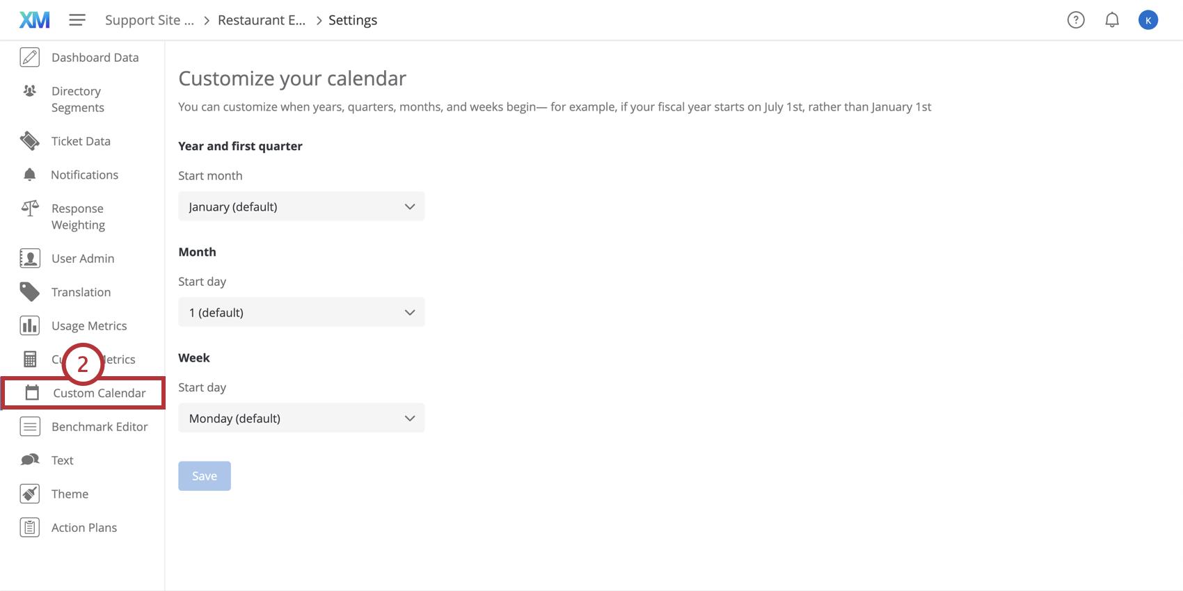 Selecting the Custom Calendar tab in the dashboard settings