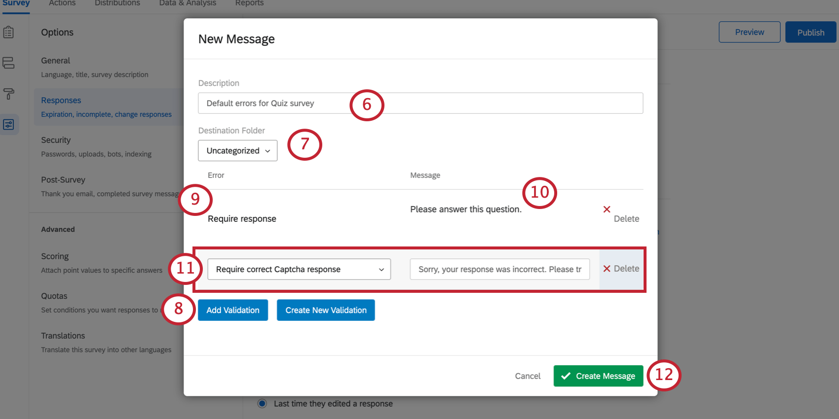 New Message window. Error field is set to Require Response. A default error for the Require Response and for the Captcha error