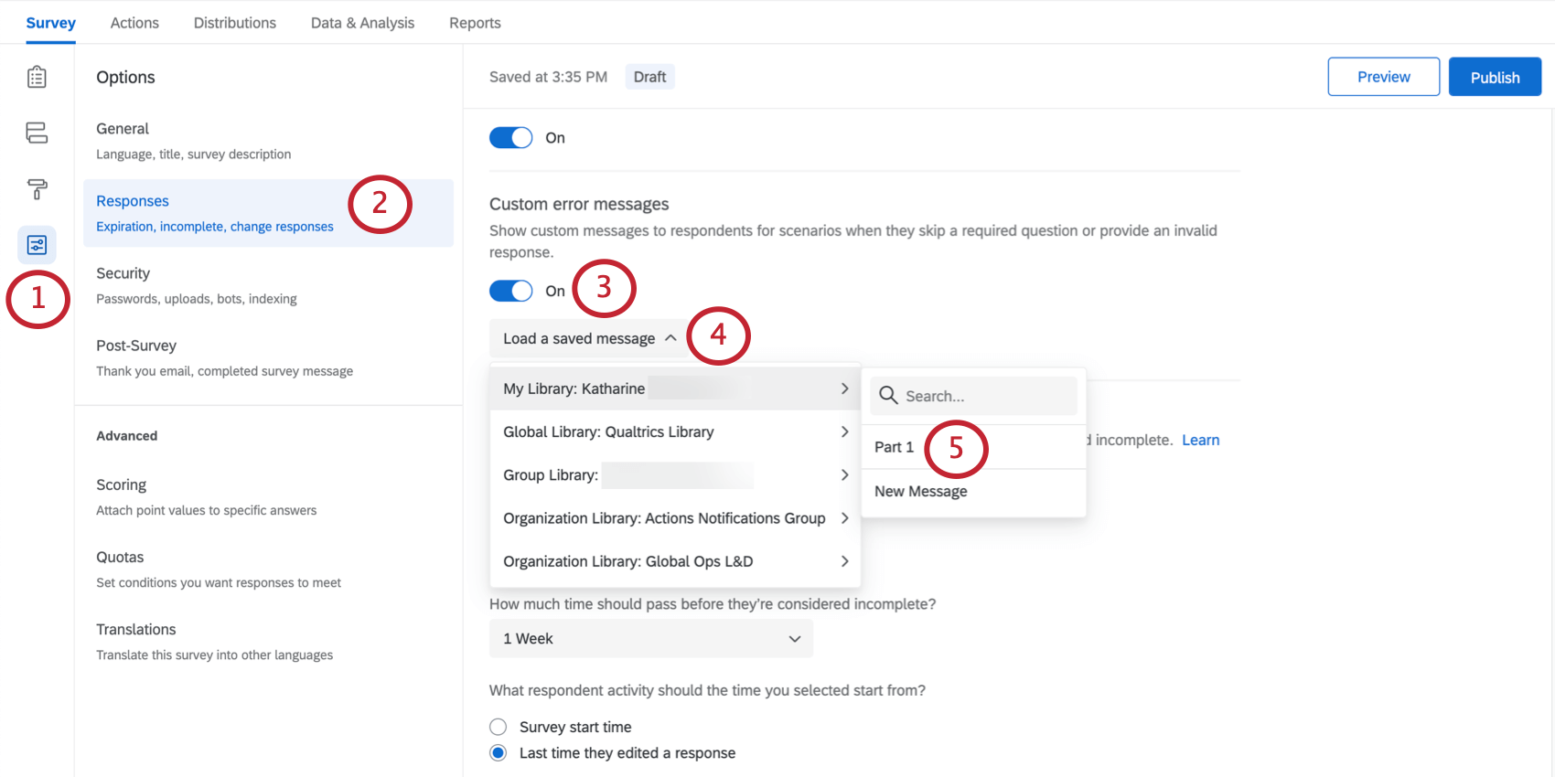 Selecting Use Custom error Message, then selecting a ready-made message from the dropdown