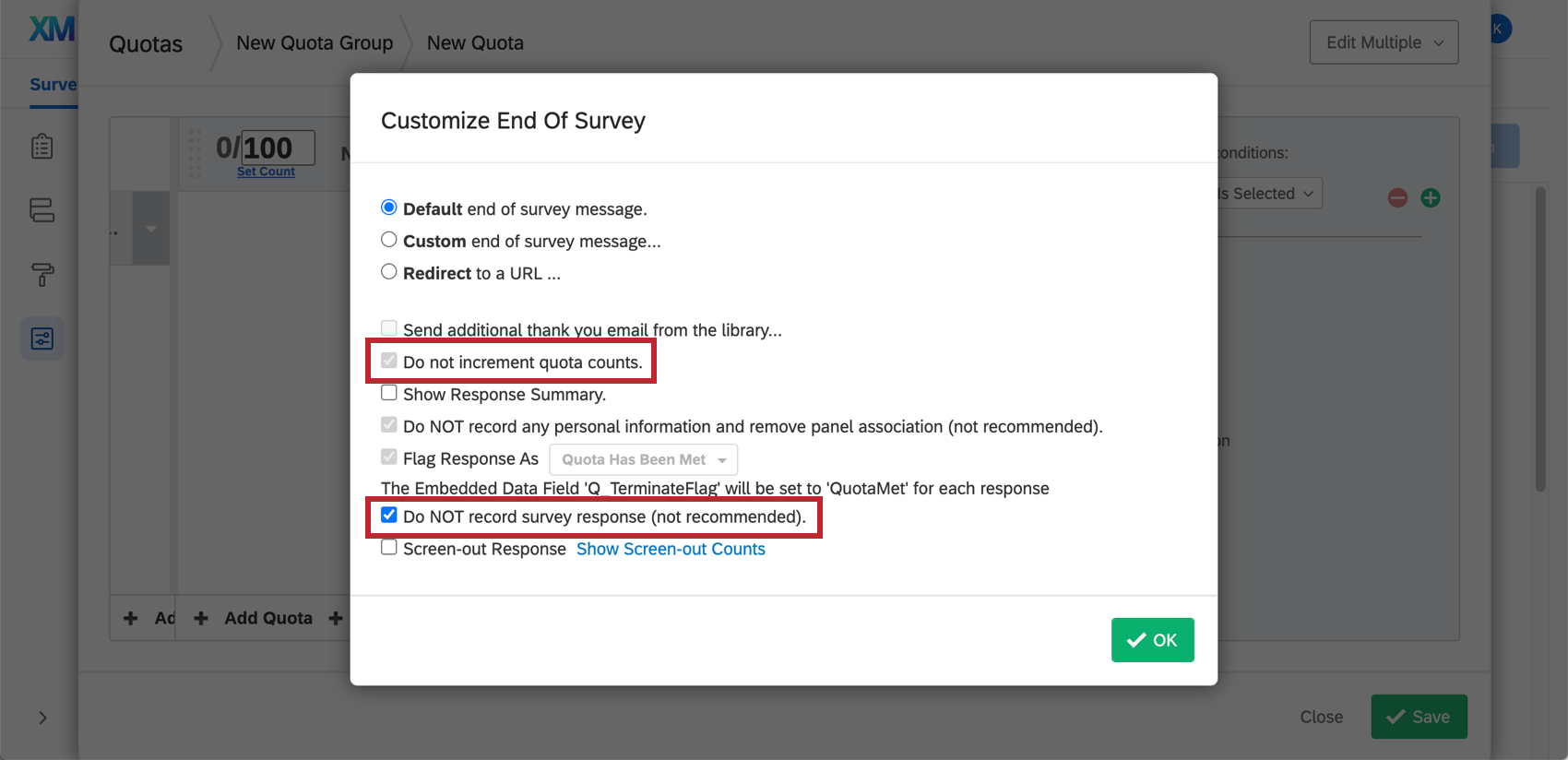 Customize end of Survey window appears