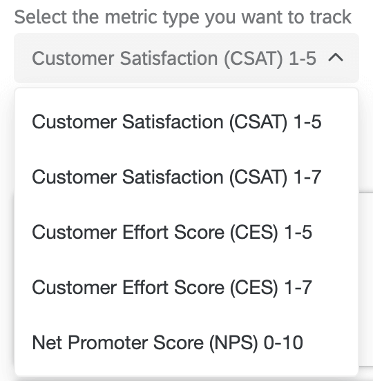 Selecting a metric type to track your journey; choices include Customer Satisfaction, Customer Effort Score, and Net Promoter Score