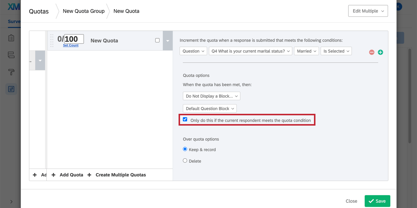 Do Not Display a Block also has the Only do this if the current respondent meets the quota condition option