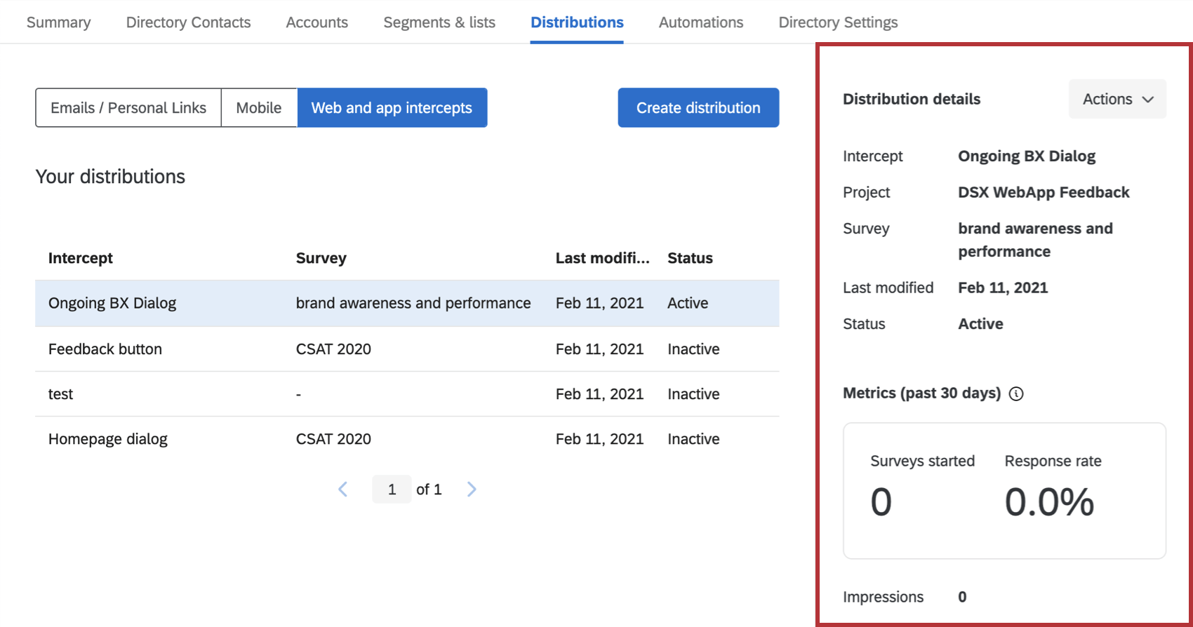Metrics and actions that open when you select a distribution