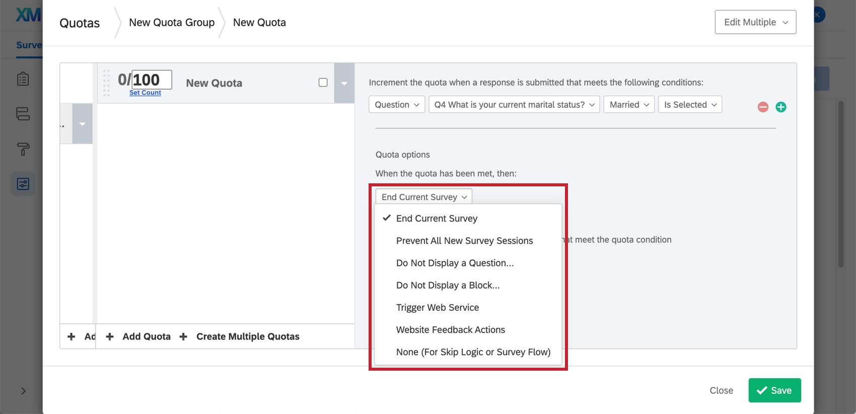 End Current Survey can be dropped down for more options