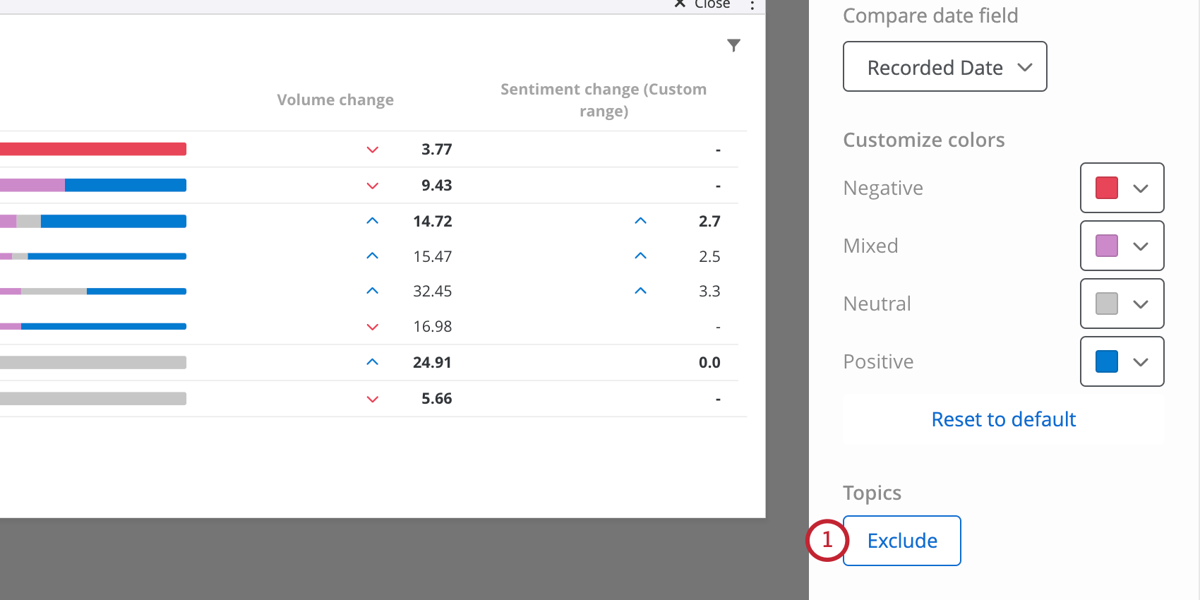 Exclude button in widget editing pane