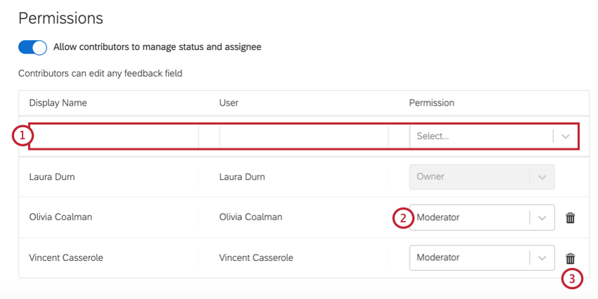 in the permissions table, you can search, change permissions, and remove access