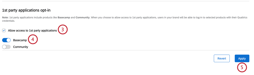 enabling the allow 1st party toggle and selecting basecamp