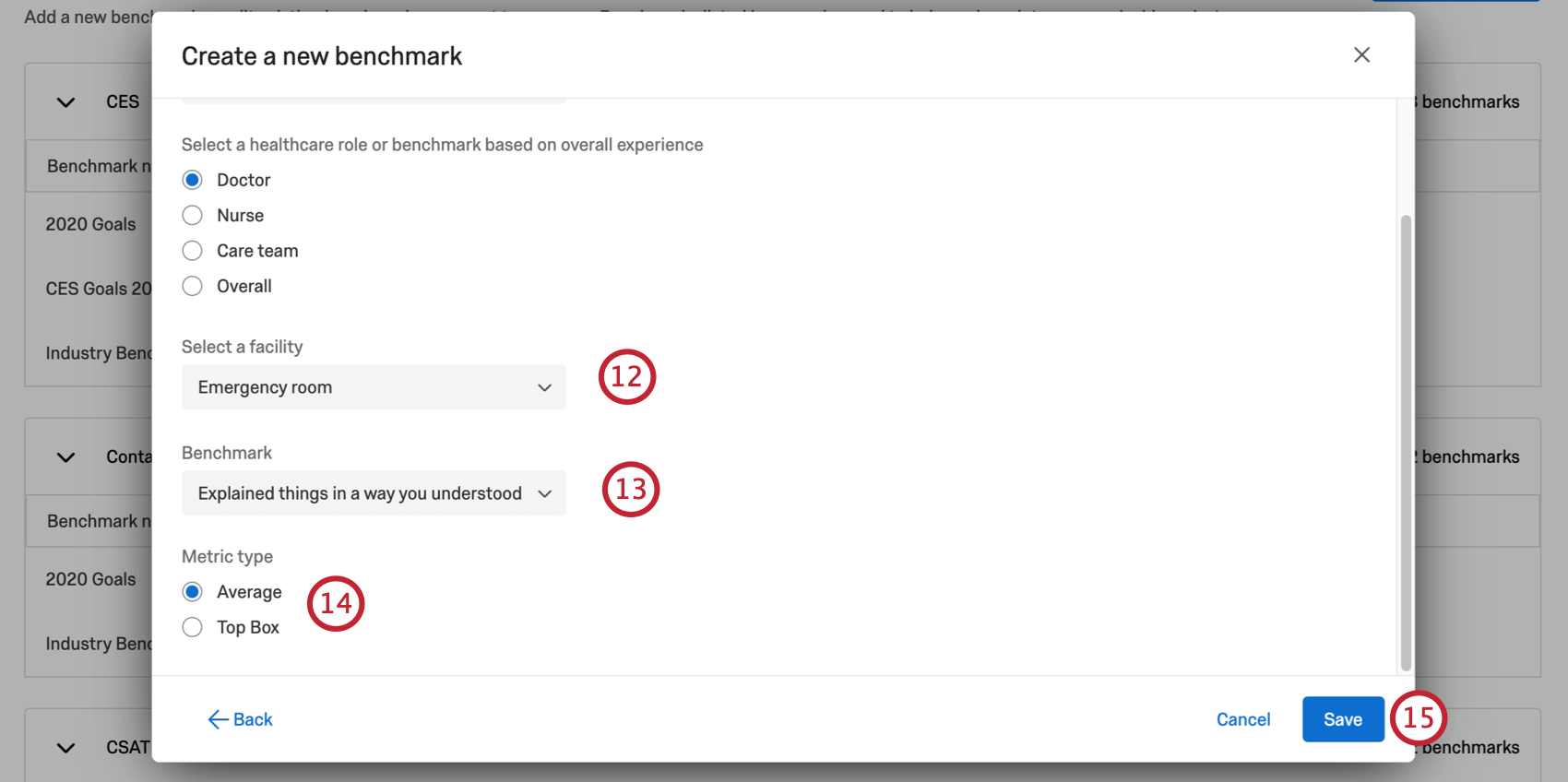 Two dropdowns, then a multiple choice for metric. Import button bottom-right