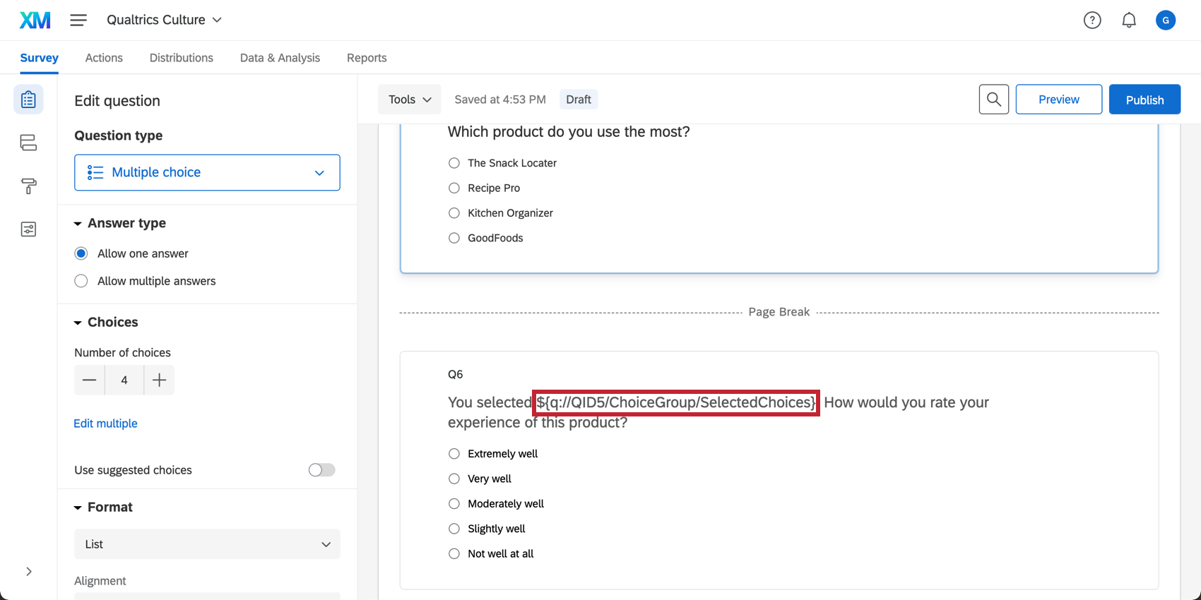 A question asks what software you use. After a page break, the second says You selected and has a placeholder that starts with French brackets