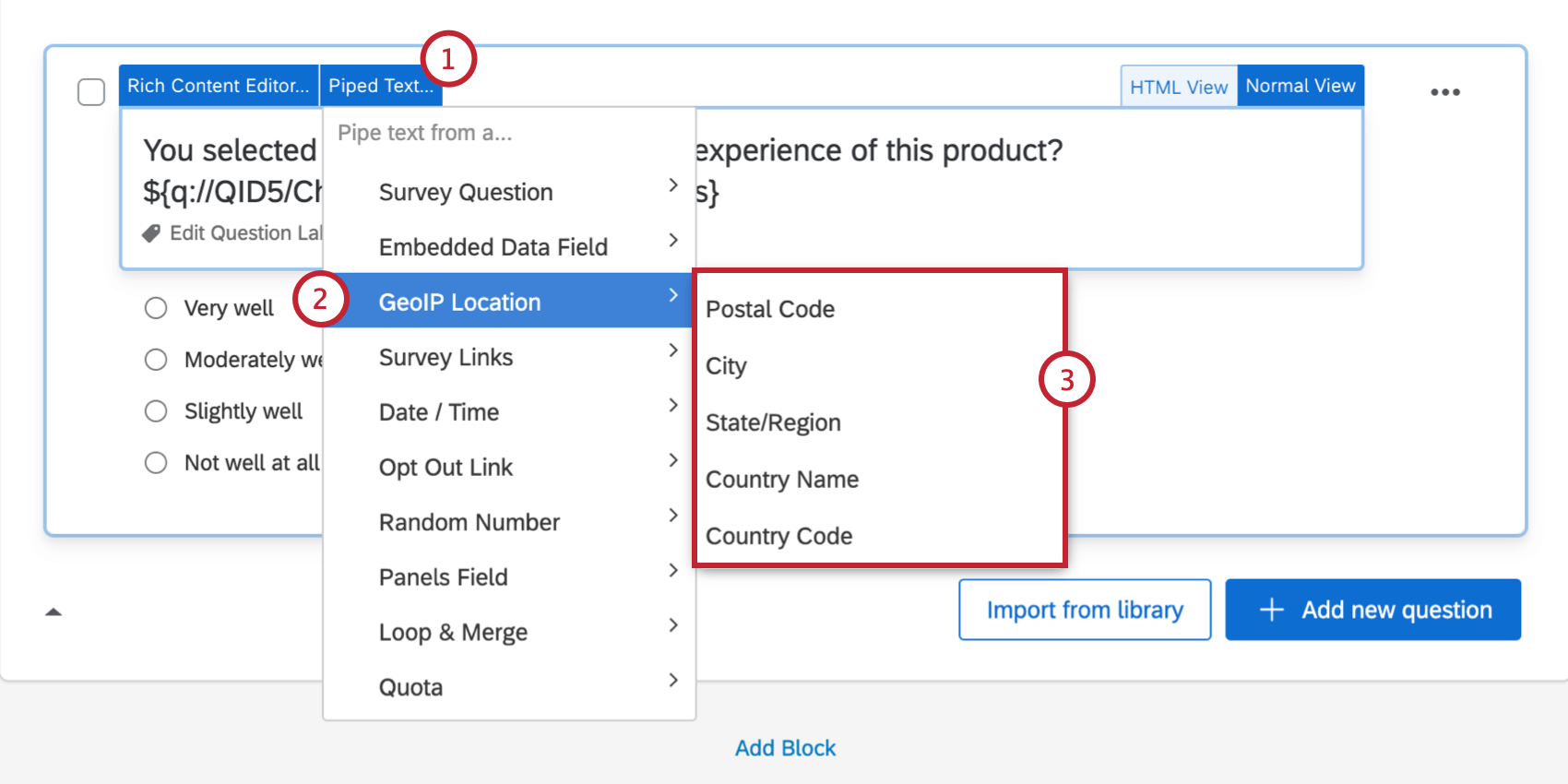 GeoIP Piped Text menu with postal code, city, state region, area code, country name, and country code options