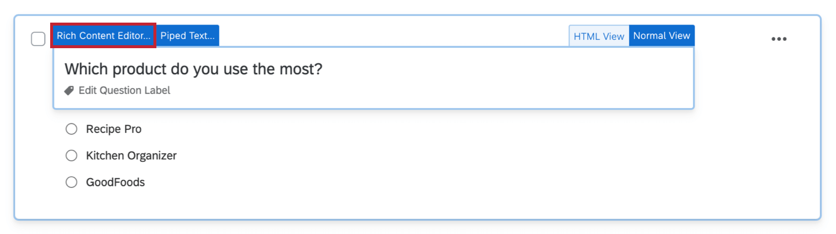 After clicking on the question text, the Rich Content Editor button appears in the upper left