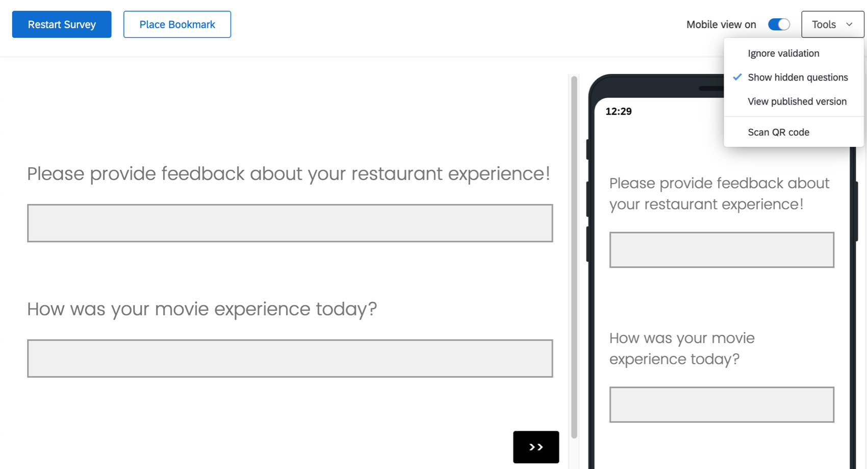 Preview Survey screen