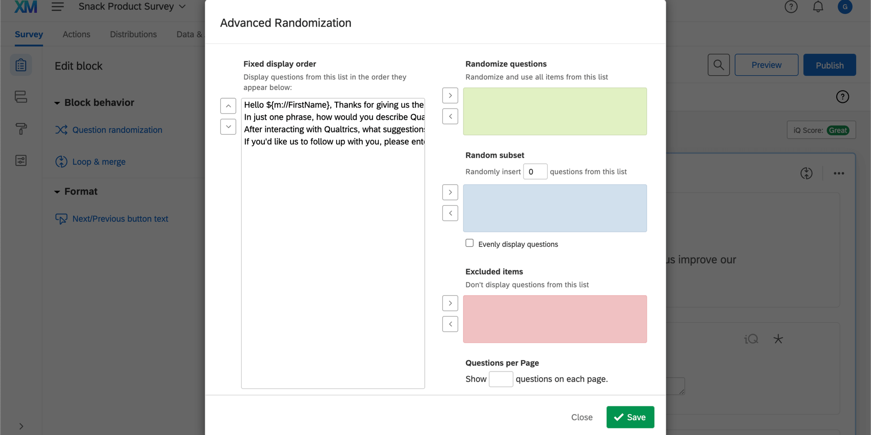 Advanced randomization options in the advanced randomization menu; includes fixed display order, randomize questions, random subset, excluded items, and questions per page