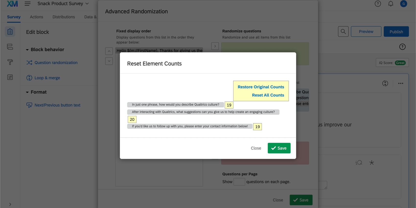 Reset element counts in the advanced randomization menu