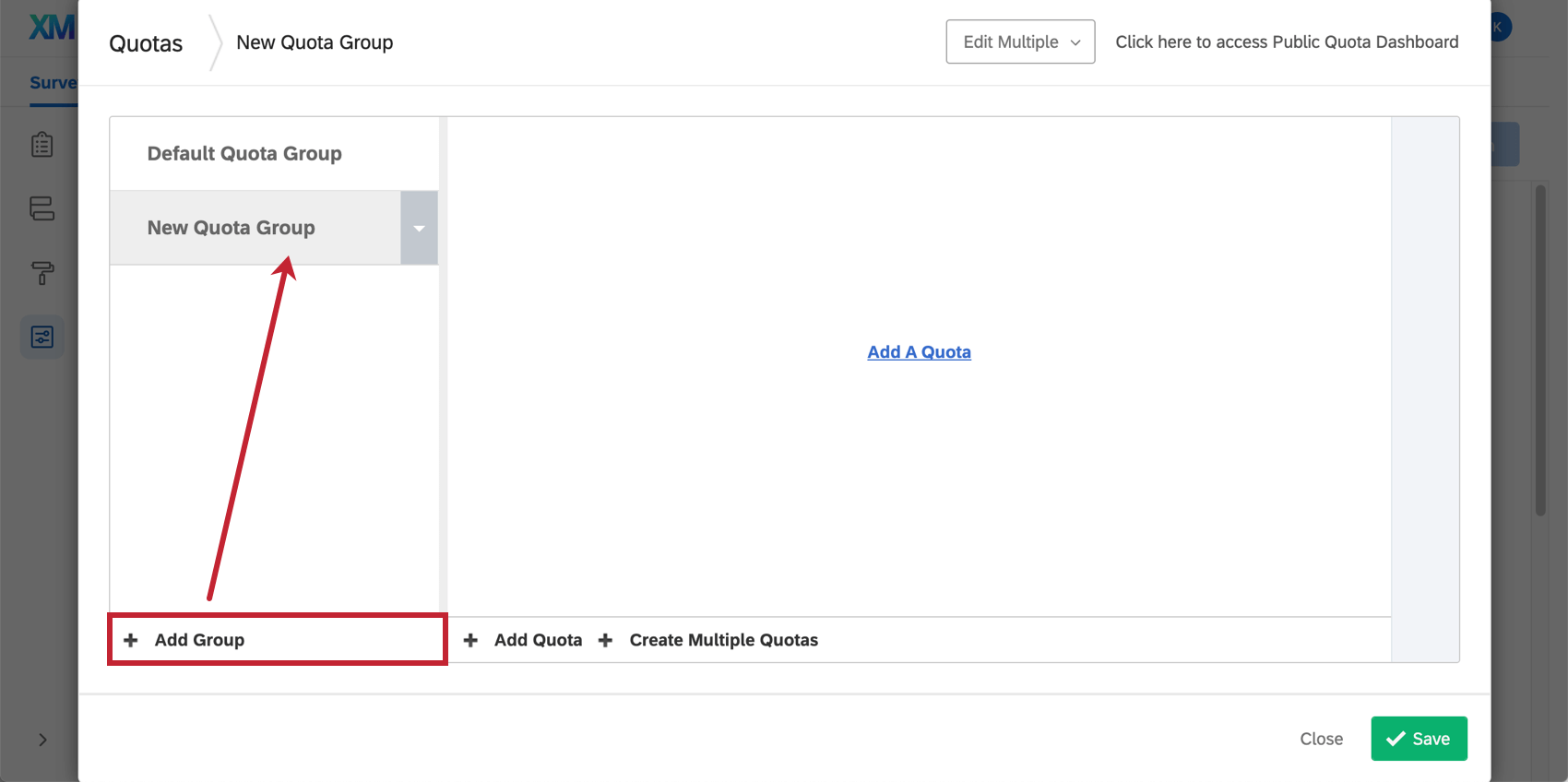 Along the leftmost menu, the Add Group option creates a new quota group