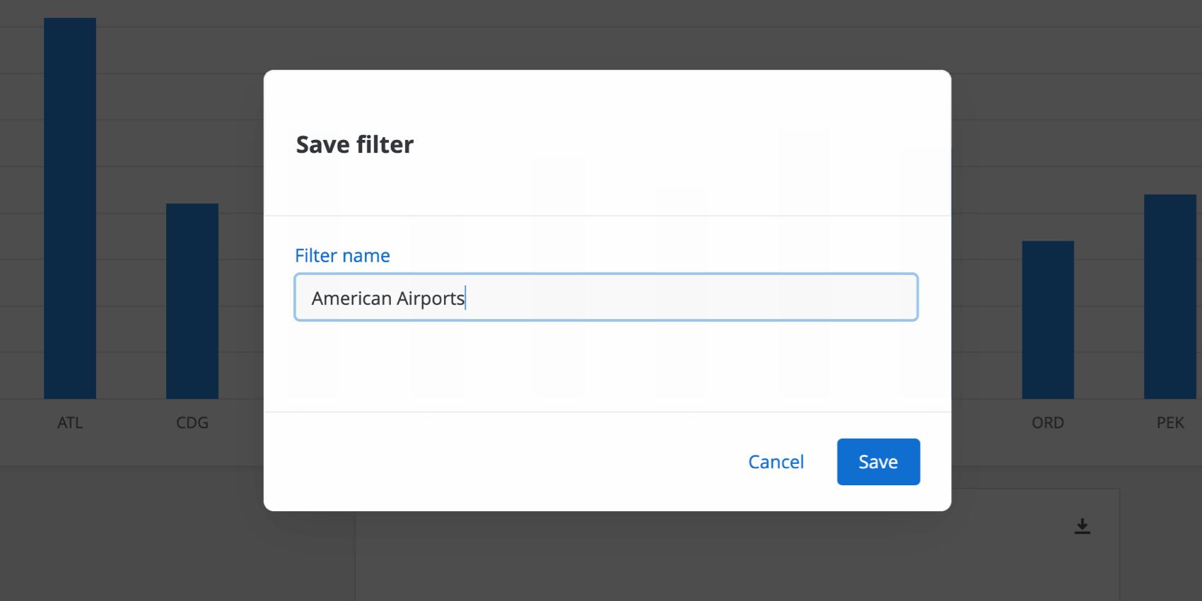 Filter naming window