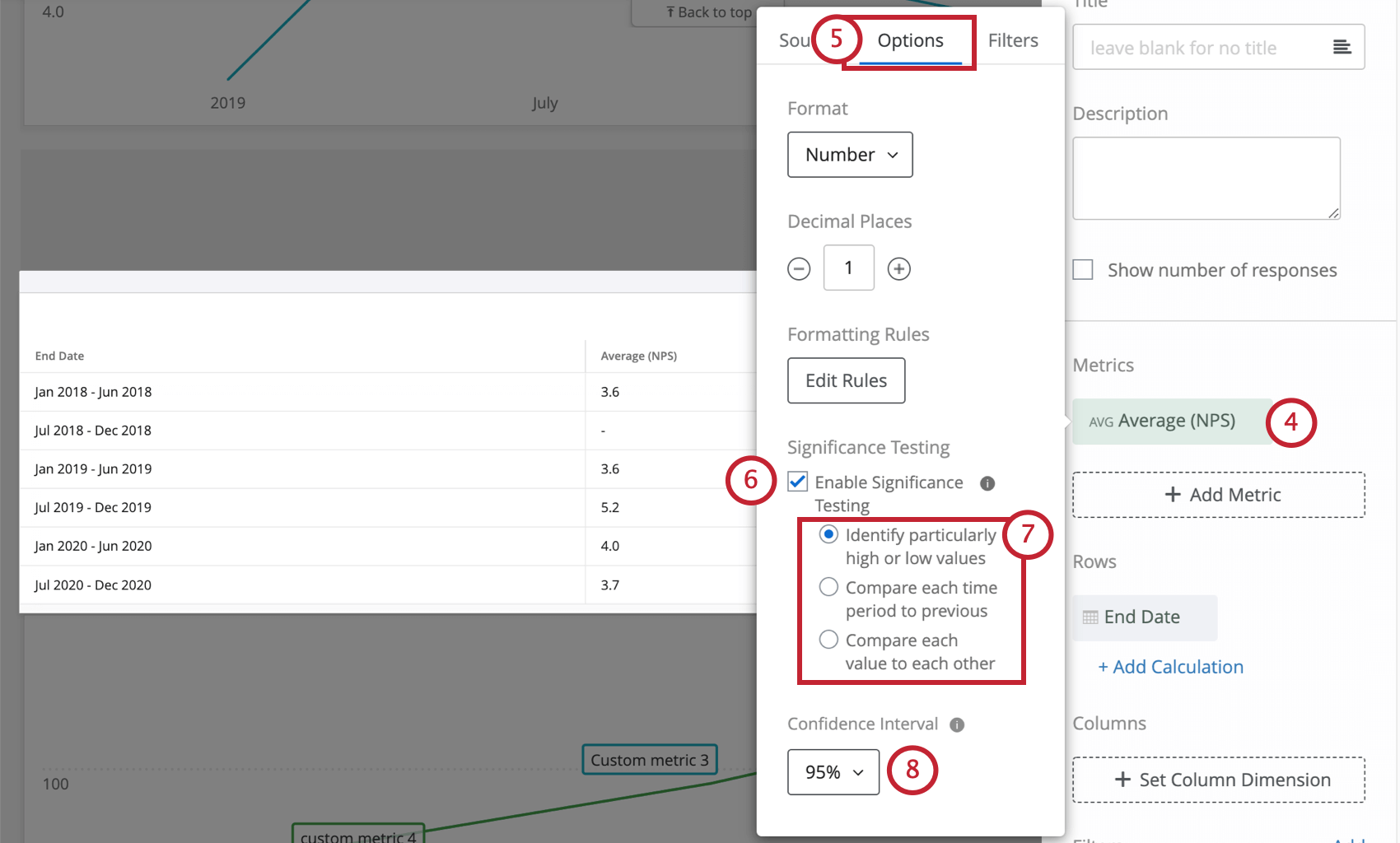 image of enabling significance testing in the options menu of a simple table widget's metric