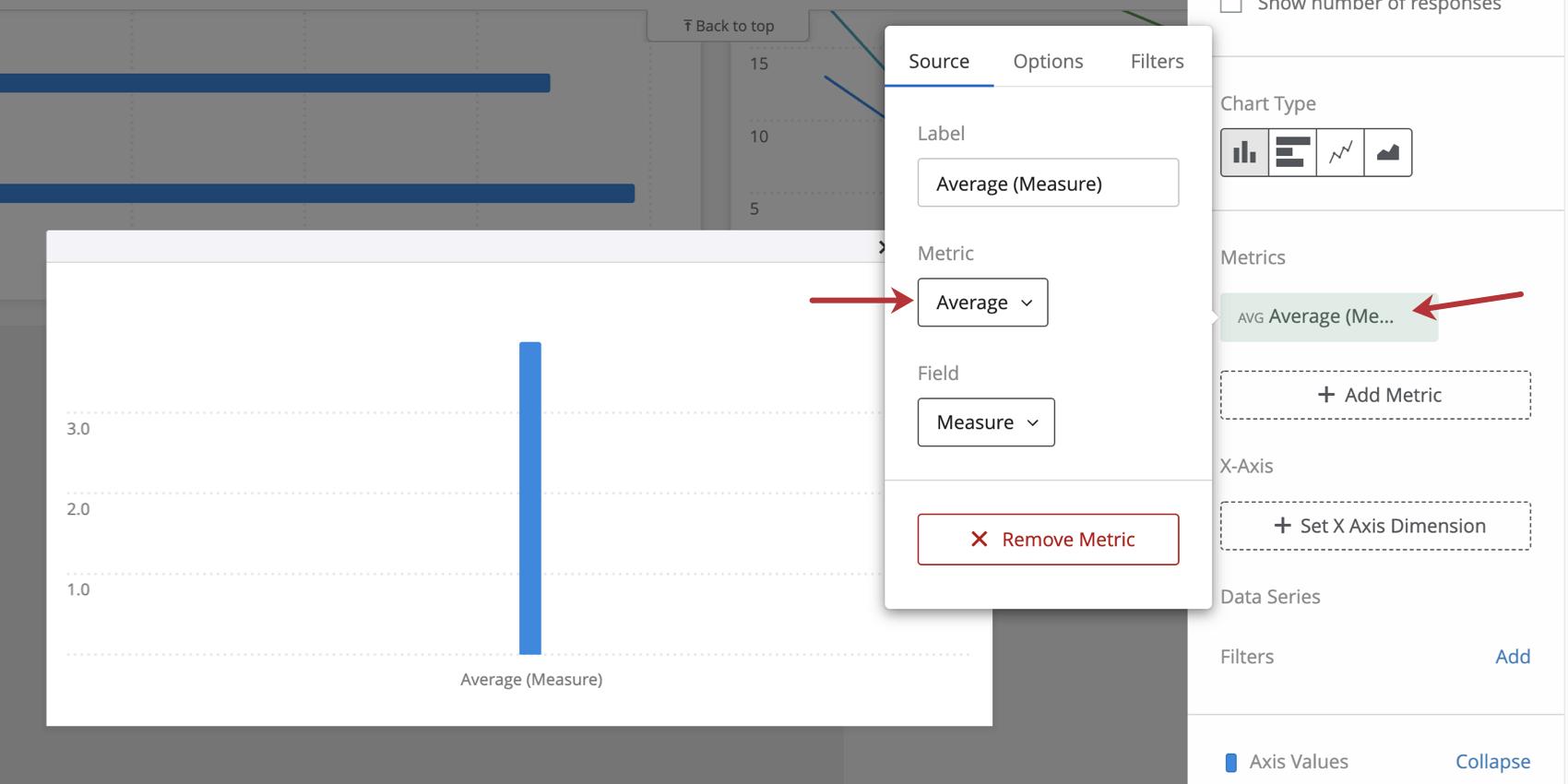 Metric settings in a bar chart